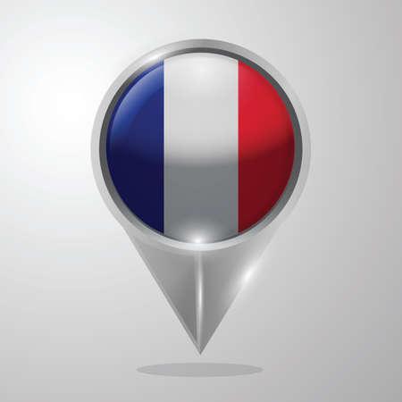 france flag map pointer Illustration