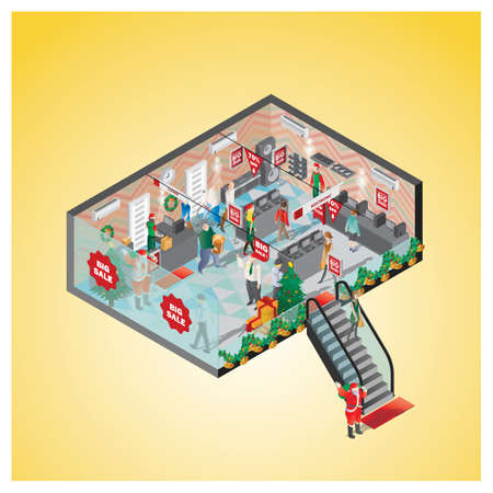 isometric of a shopping mall 向量圖像