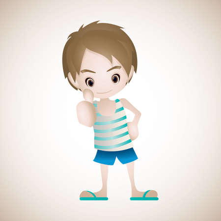 boy showing thumbs up Stock Vector - 106669956
