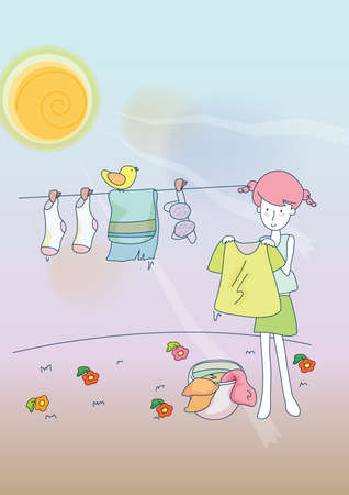 dry flowers: girl drying laundry on clothesline Illustration