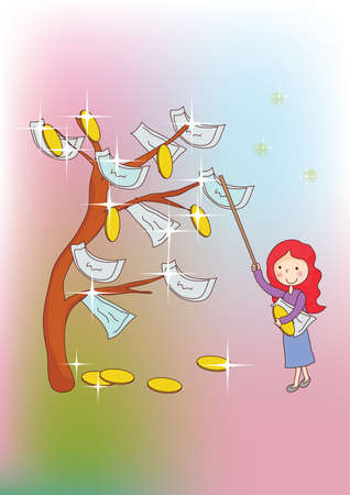 plucking: girl plucking currency notes  from money tree Illustration