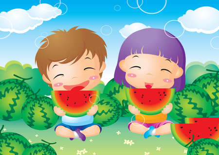 child sitting: kids enjoying watermelon Illustration