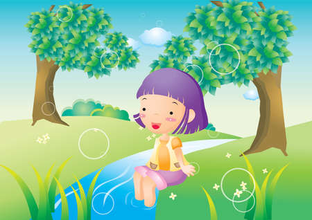 river bank: girl sitting on river bank Illustration
