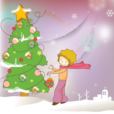 decorating christmas tree: boy decorating christmas tree Illustration