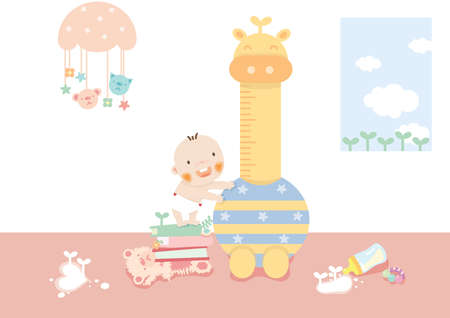 playthings: baby standing on a stack of books