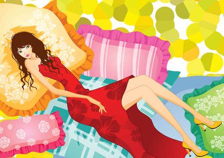 lying: fashionable woman lying on pillow