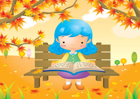 child sitting: girl sitting on bench and reading a book