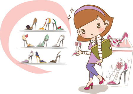 retail display: girl shopping for new shoes Illustration