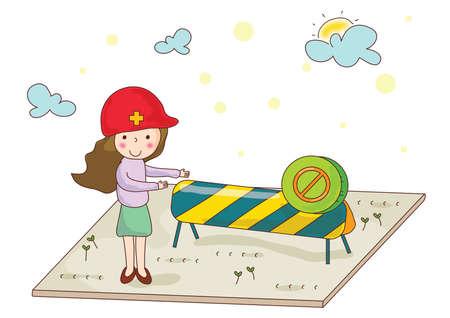 demonstrating: girl demonstrating prohibited zone Illustration