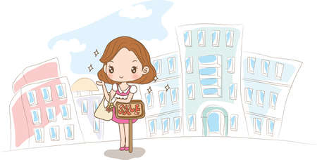 promotion girl: girl standing near sale board Illustration