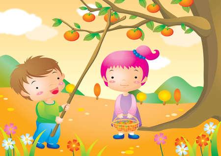 plucking: boy plucking tomato with stick Illustration