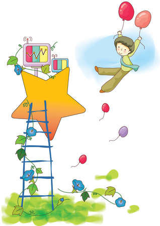 boy flying with balloons