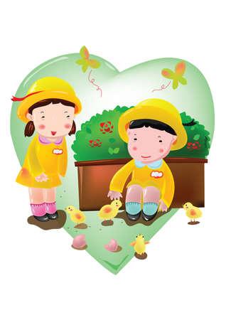 pollitos: niños jugando con los polluelos Vectores