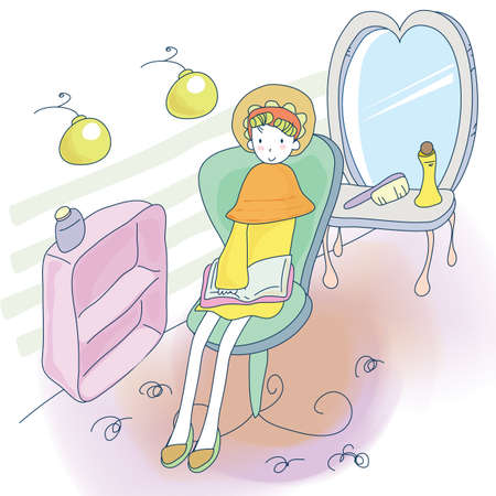 read magazine: woman at beauty parlour Illustration