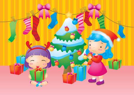decorating christmas tree: girls decorating christmas tree