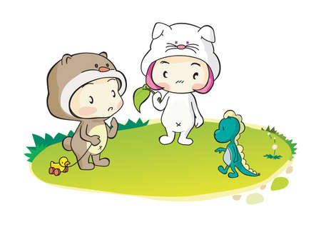 costume: kids in animal costume Illustration