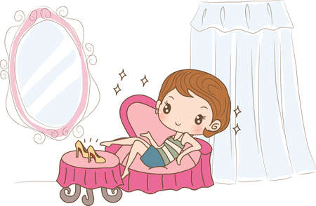 after shopping: girl sitting on couch after shopping