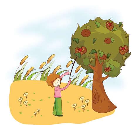 plucking: boy plucking fruit with stick Illustration