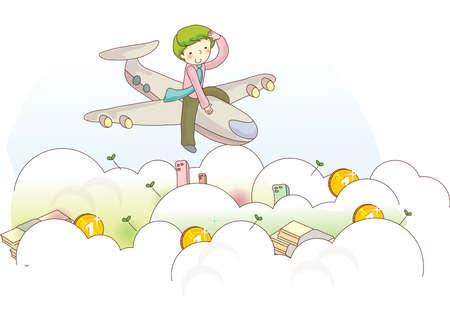 boy sitting on aeroplane