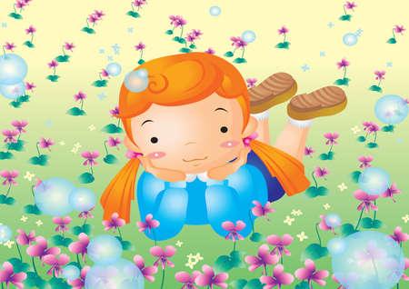 lying in: girl lying in garden