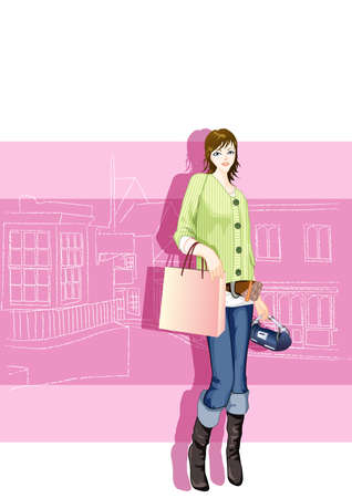 fashionable: fashionable woman with shopping bags