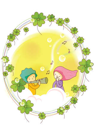 flute: boy playing flute for girl Illustration