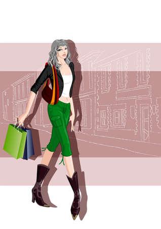 moda mujer con bolsas de la compra
