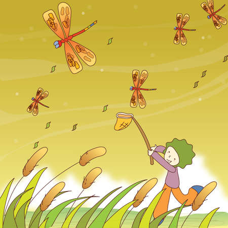 catching: boy catching dragonfly with net Illustration