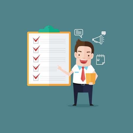 checklist: businessman with checklist Illustration
