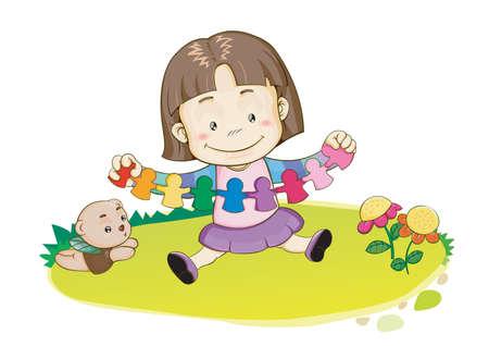 Fille jouant avec du papier artisanal Banque d'images - 51474099