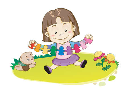 paper craft: girl playing with paper craft Illustration