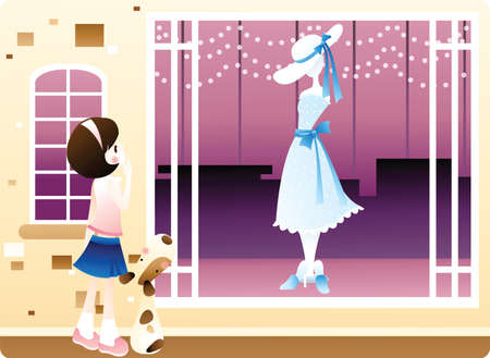 retail display: girl looking at dress on display Illustration