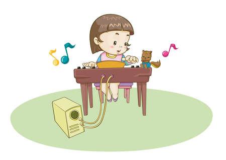 turntable: girl playing music on turntable Illustration