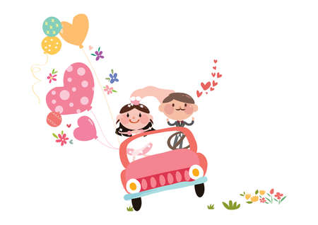 wedding couple in a car