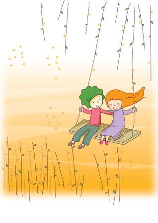 couple having fun: couple having fun on swing Illustration
