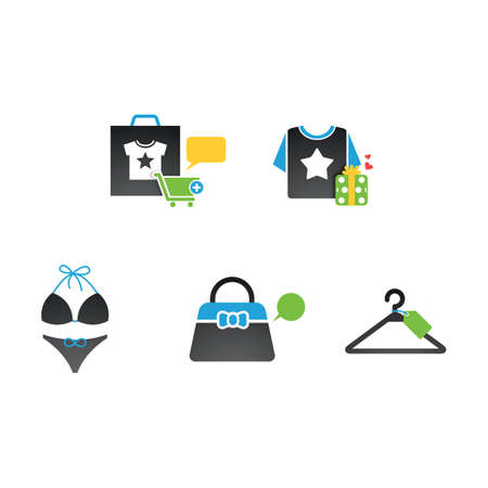 shirts on hangers: assorted shopping icons
