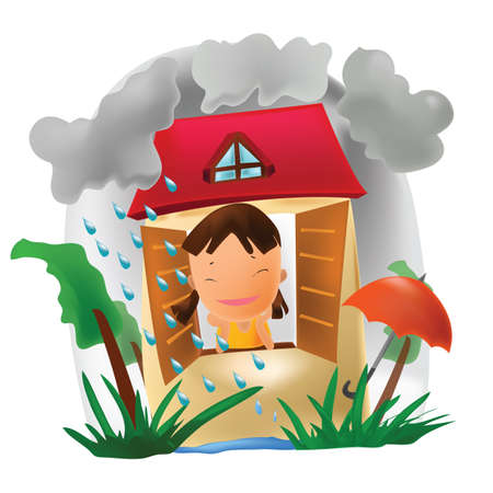 rain window: girl watching rain from window Illustration