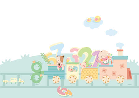 toy train: kids riding a toy train Illustration