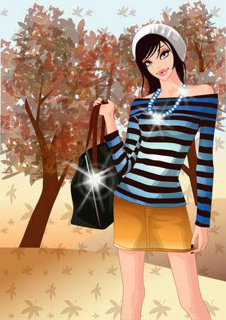 woman standing: woman standing with handbag