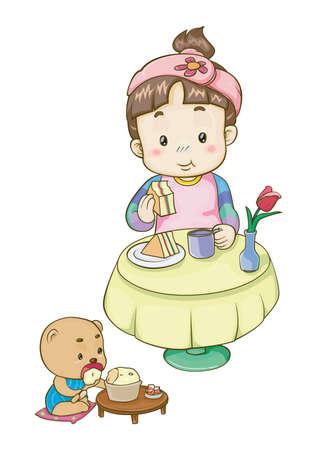 baby girl: girl having food with baby