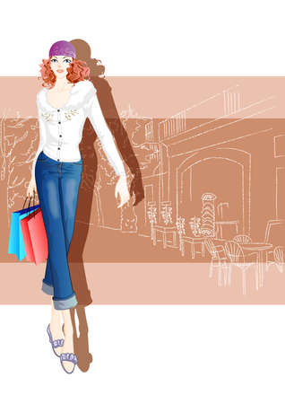fashionable woman: fashionable woman with shopping bags