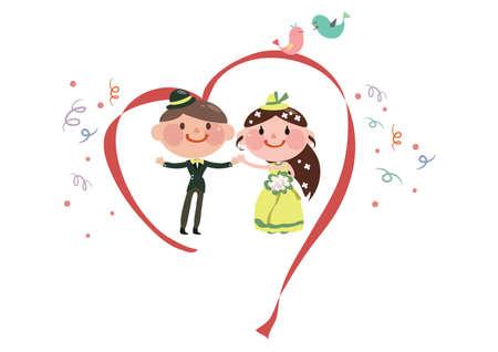 ribbon heart: wedding couple in a ribbon heart Illustration