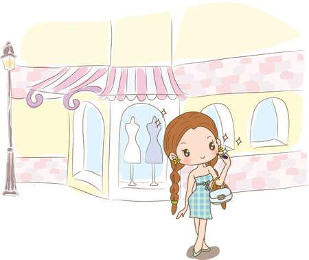 standing lamp: girl standing at shopping street