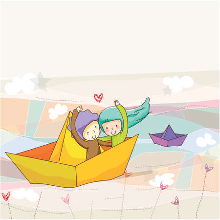 paper boat: couple sitting in paper boat