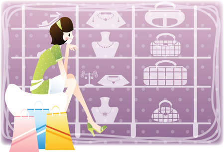 retail display: woman looking for accessories on display Illustration