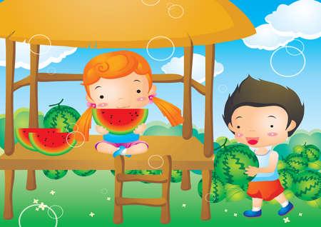 kids eating: kids eating watermelon