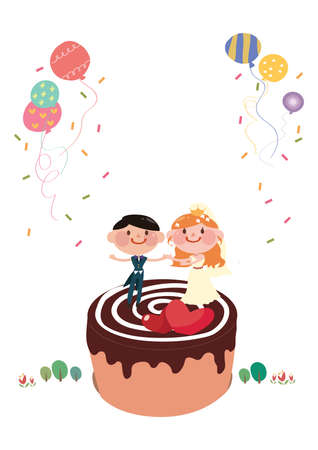 wedding cake: a wedding couple on a cake Illustration