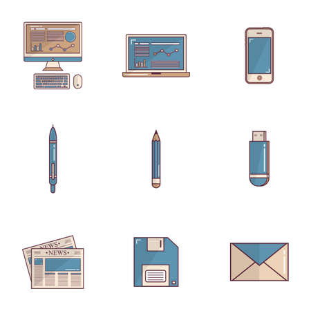 floppy drive: collection of office icons
