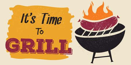 fire pit: barbeque banner Illustration