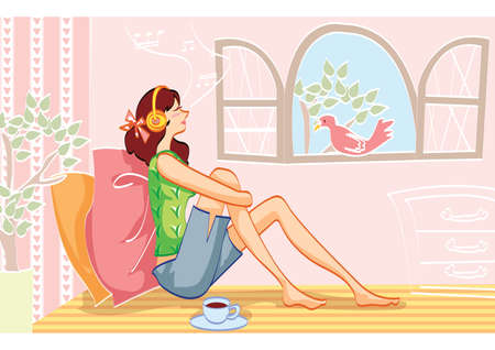 relaxing: woman relaxing while listening to music